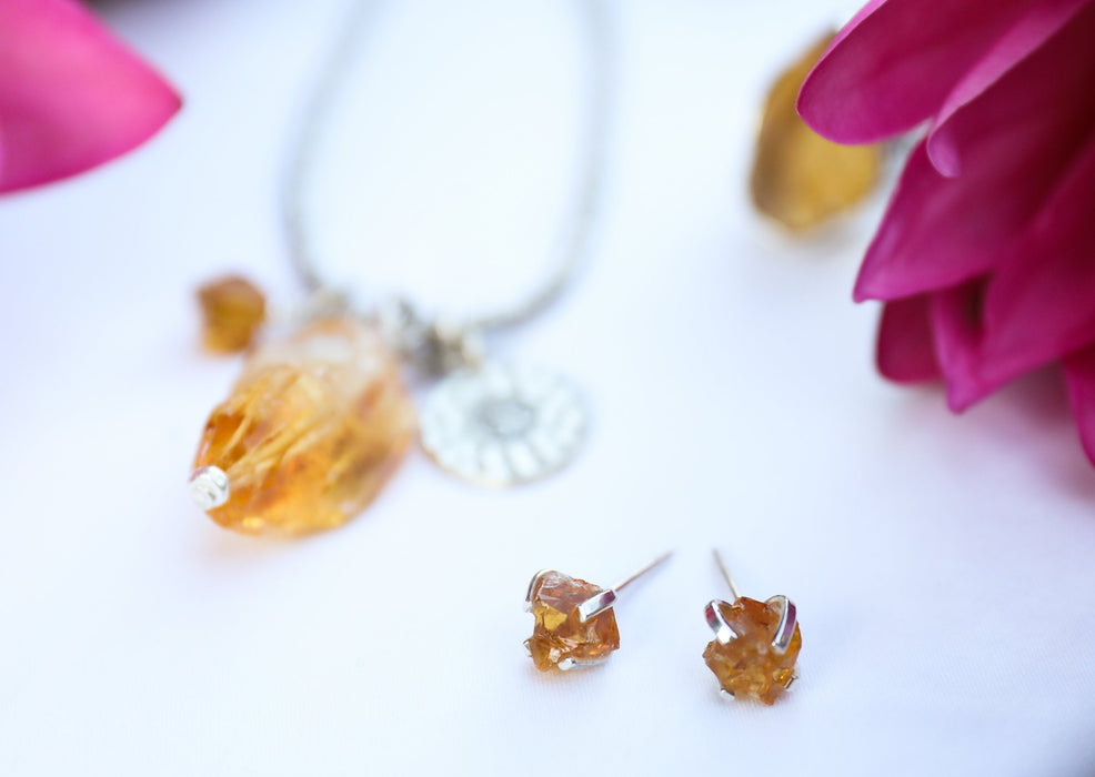 Luminous Raw Citrine Claw Studs in 92.5% Sterling Silver - Raw Gemstone Jewelry - Gemstone Stud Earrings