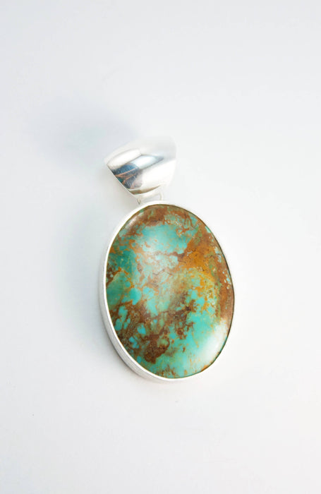 Natural Turquoise Pendant set in Brushed Sterling Silver - Genuine Turquoise Jewelry - Gemstone Jewellery - Statement Pendant