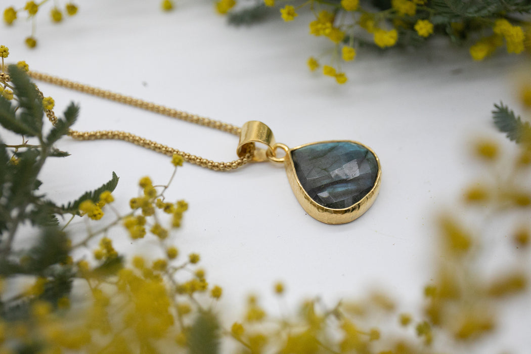Statement A Grade Faceted Labradorite Pendant set in Hammered Gold Plated Sterling Silver - Statement Pendant - Gemstone Jewelry
