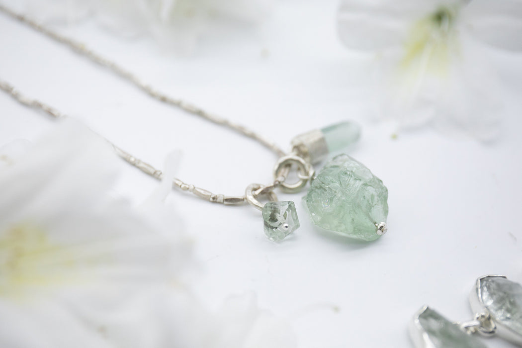 Charm Necklace with Faceted and Raw Green Amethyst and Aquamarine Pendant on Beaded Thai Hill Tribe Silver Chain - Rough Gemstone Pendant