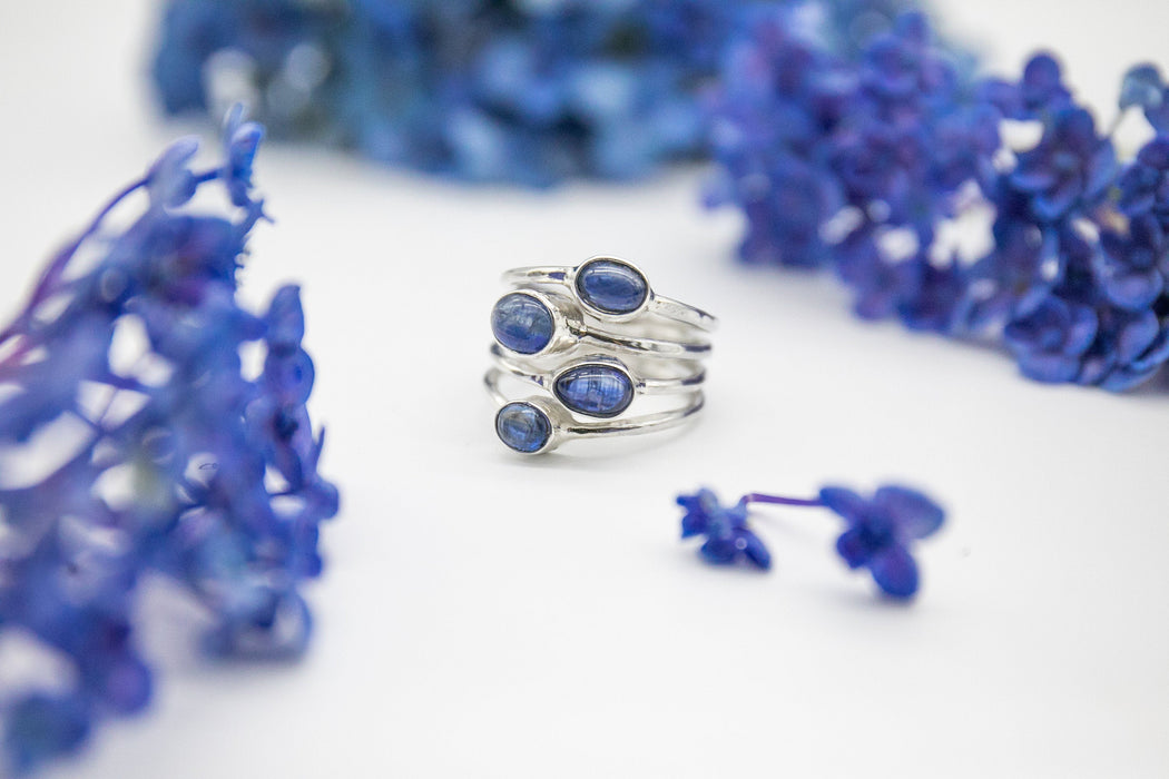 Unique Blue Kyanite Ring in Sterling Silver Multi Band Setting - Size 8 US - Blue Kyanite Ring - Multi Gemstone Ring