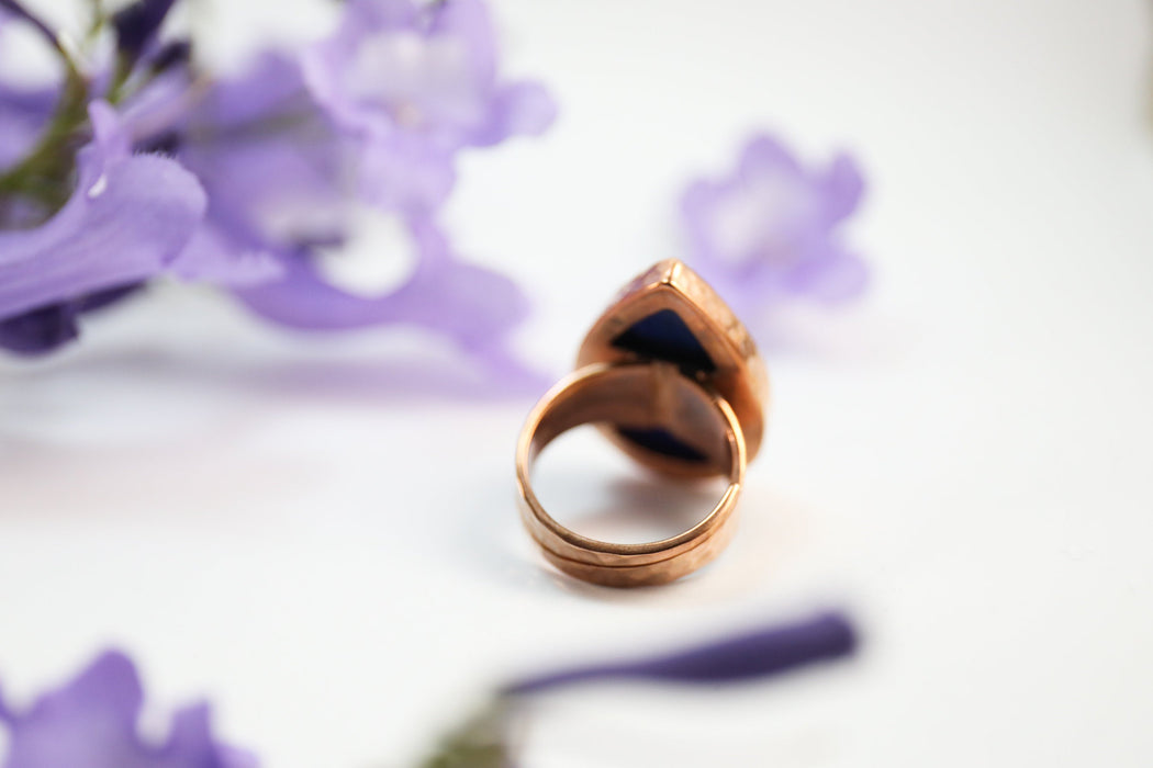 Gorgeous Teardrop Lapis Lazuli Ring set in Beaten Rose Gold Plated Beaten 92.5% Sterling Silver with Adjustable Style Band - GemstoneJewelry