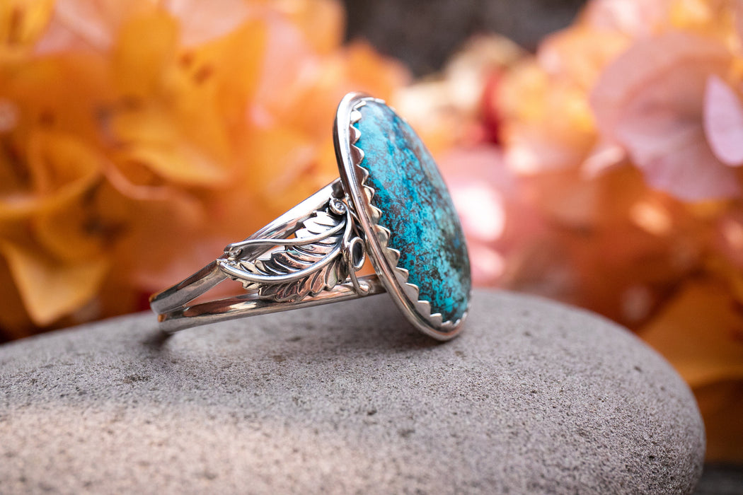 Gorgeous Statement Shattuckite Bangle set in Unique Leaf Cast Sterling Silver Setting - Shattuckite Jewelry - Gemstone Bangle
