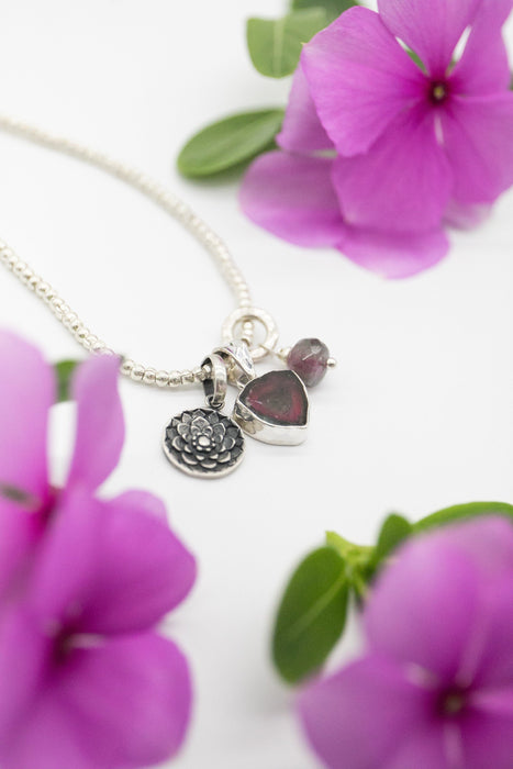 Lovely Watermelon Tourmaline and Lotus Charm Set on Thai Hill Tribe Silver Chain - Handmade Gemstone Jewelry