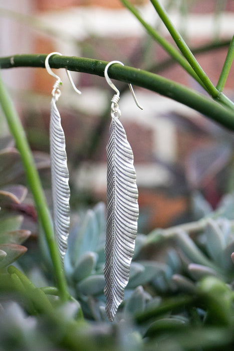 Statement Thai Hill Tribe Silver Leaf Earrings - Pure Silver Jewellery - Jewelry - Tribal Jewelry - Tribal Earrings