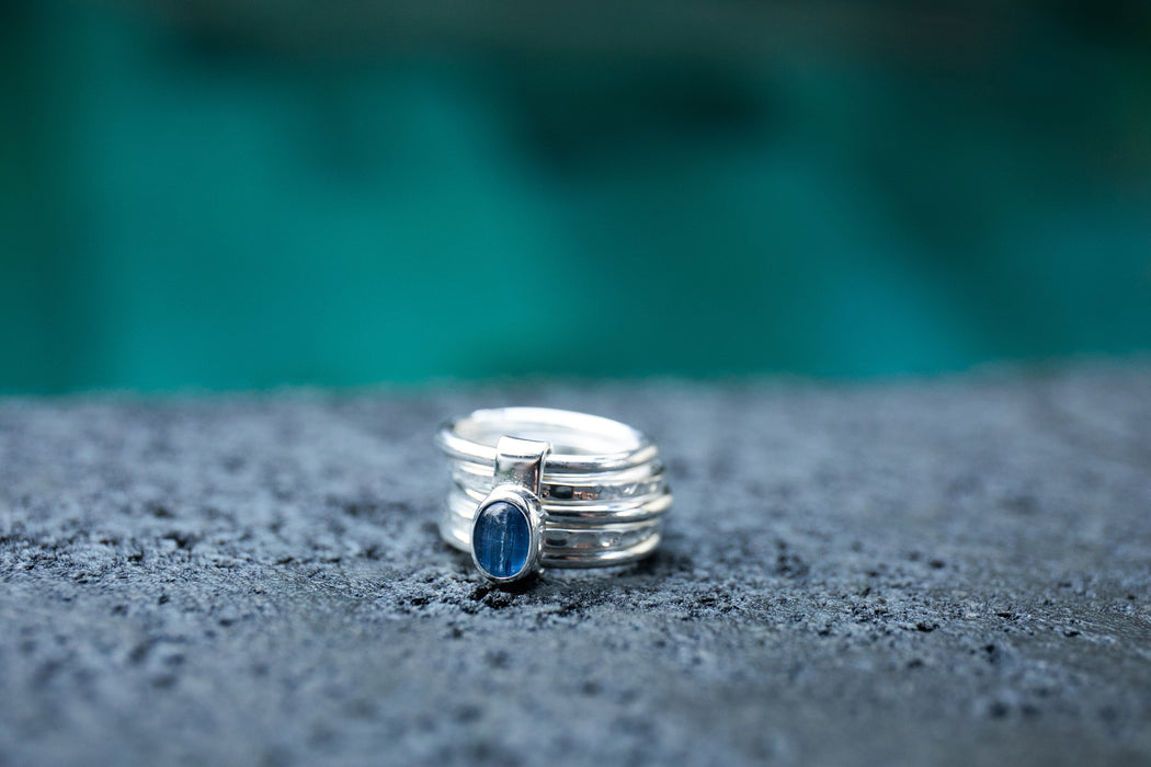 Unique Blue Kyanite Ring in Sterling Silver Multi Band Setting - Multiple Sizes - Blue Kyanite Jewelry - Gemstone Jewellery - Kyanite Ring