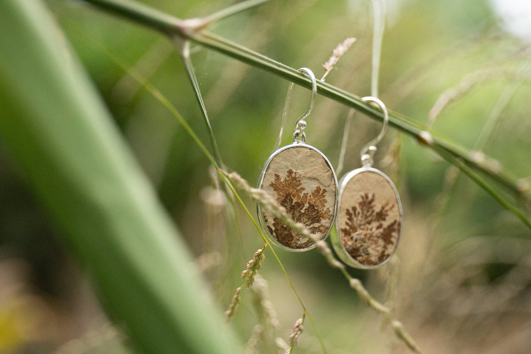 Natural Leaf Jasper Earrings set in Sterling Silver - Gemstone Jewellery - Raw Gem Jewellery - Jasper Jewellery