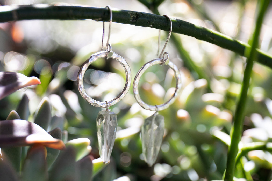 Sweet Faceted Green Amethyst Earrings with Thai Hill Tribe Beaten Circle and Hooks - Handmade Gemstone Jewellery - Prasiolite