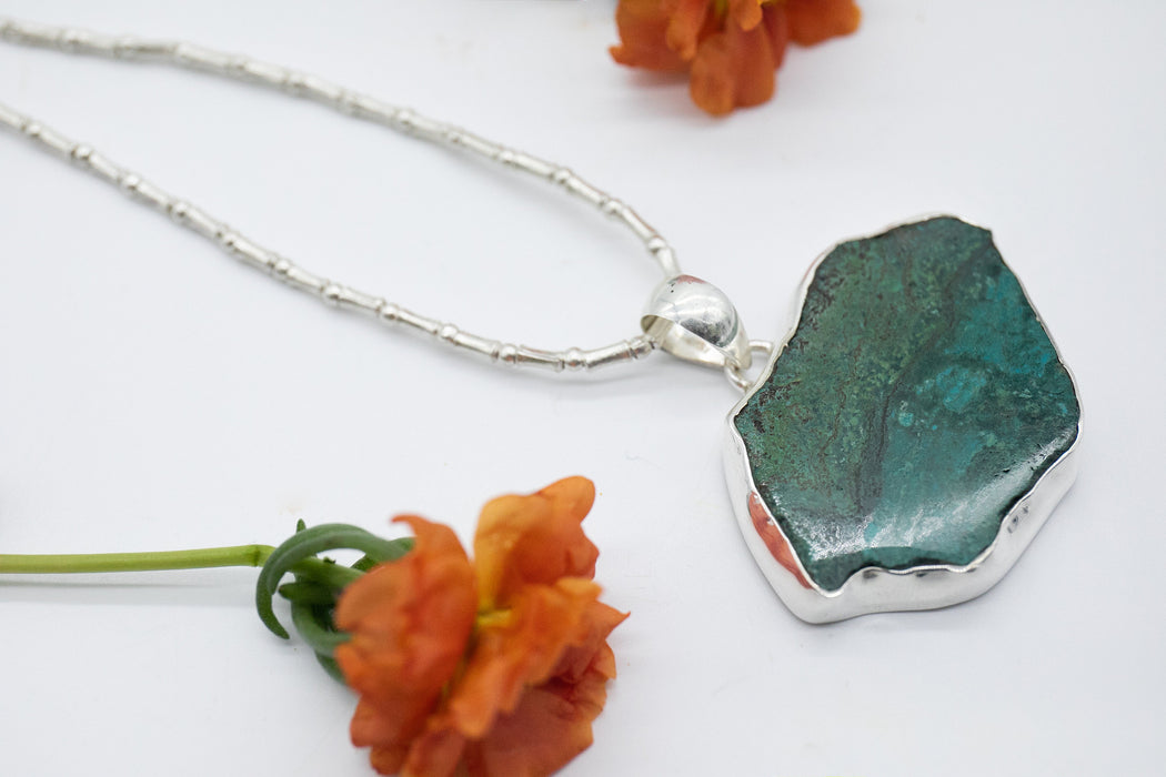 Statement Slice Chrysocolla Pendant set in Sterling Silver - Gemstone Jewelry - Statement Gemstone Jewellery - Large Gemstone Pendant