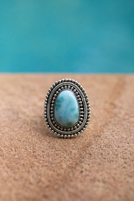 Lovely One of a Kind Larimar Ring in Tribal Silver Setting - Size 7 US - High Grade Larimar Ring