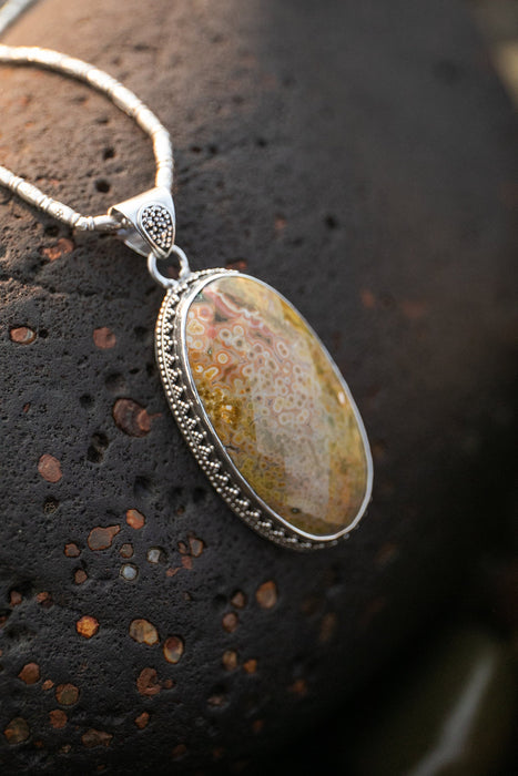 Stunning Large Faceted Ocean Jasper Pendant in Unique Tribal Sterling Silver Setting - Gemstone Pendant - Ocean Jasper Jewellery - Jewelry