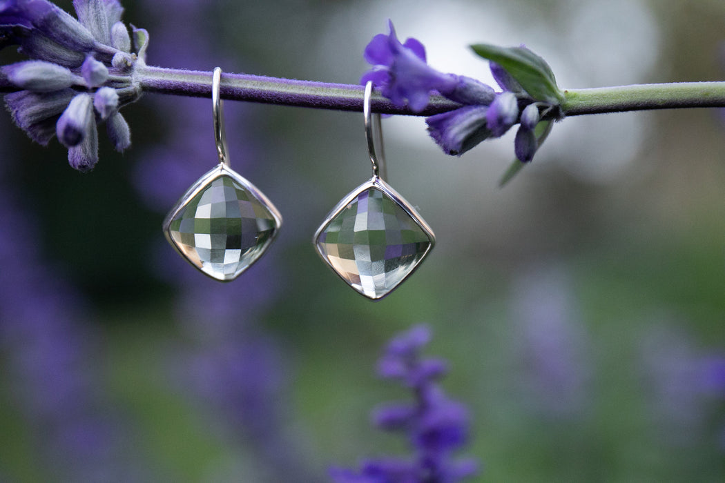 Lovely Cushion Faceted Green Amethyst or Prasiolite Earrings set in Edged Sterling Silver - Gemstone Jewellery - High Quality Gem Jewelry