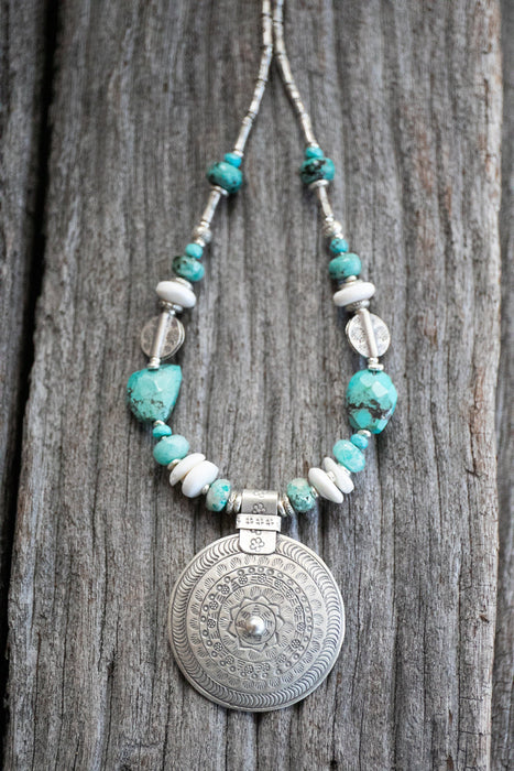 Stunning Turquoise, Amazonite, Shell, Chrysocolla Necklace with Thai Hill Tribe Silver - Gemstone - Handmade Multi Stone Jewelery - Jewelry