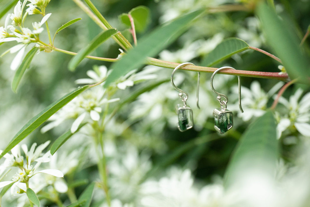 One of a Kind High Quality Green Tourmaline Earrings in Unique Sterling Silver Setting - Handmade Jewelry - Verdelite Gemstone