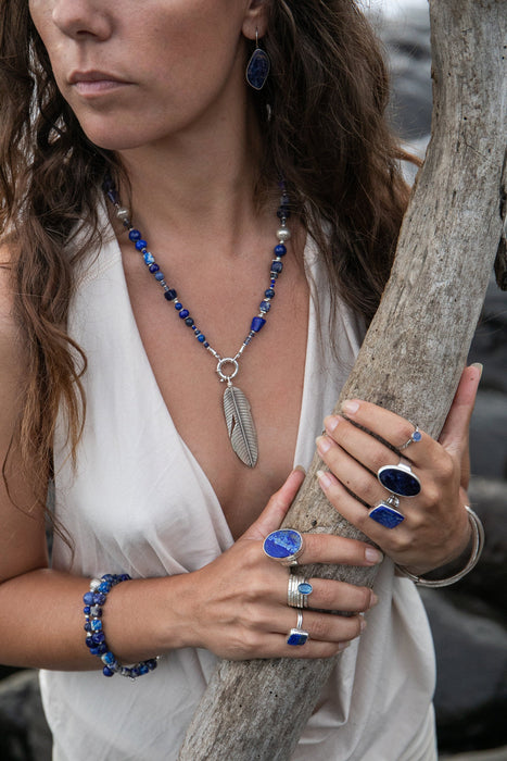 Handmade Lapis Multi Stone Necklace with Thai Hill Tribe Silver and Leaf Pendant - Lapis, Sodalite, and Kyanite Beaded Necklace