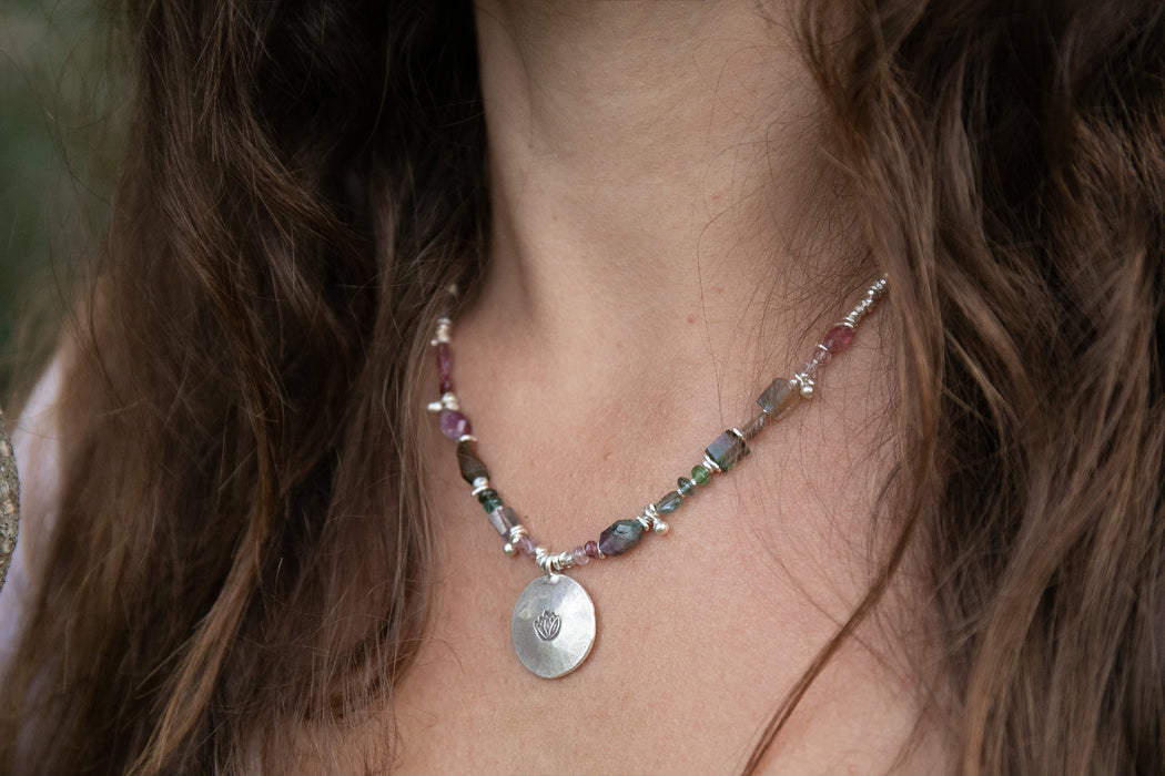 Stunning Graduated Raw Watermelon Tourmaline Necklace with Thai Hill Tribe Silver Beads and Lotus Pendant - Gemstone