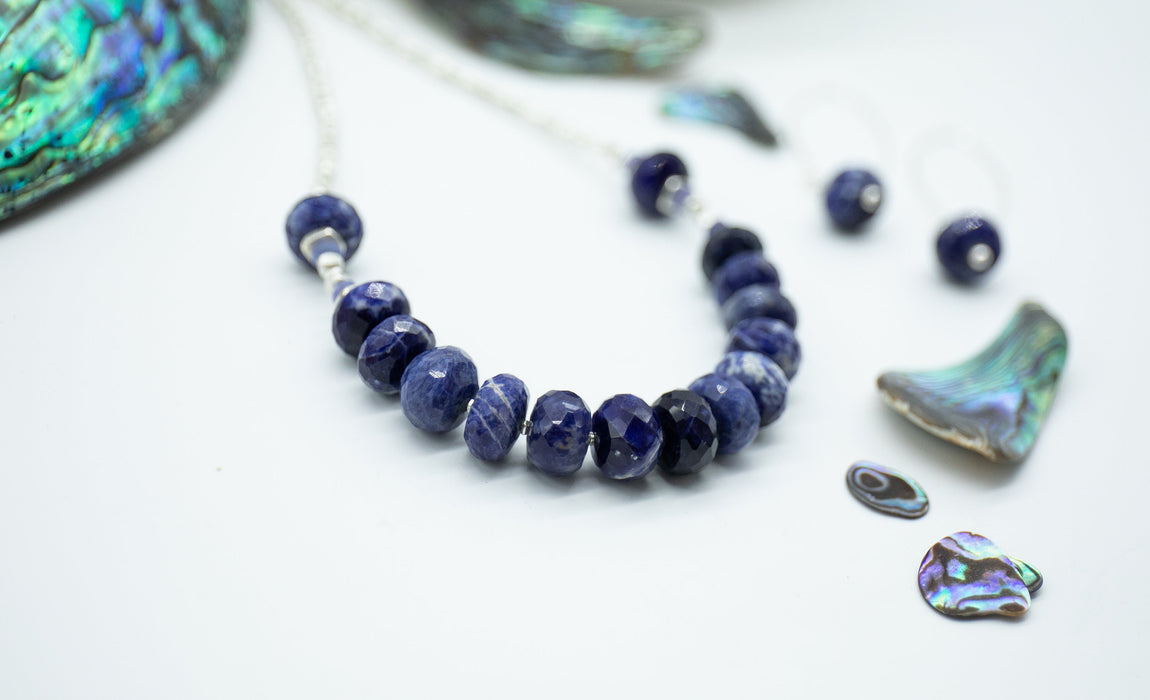 Statement Handmade Beaded Sodalite, Tanzanite + Thai Hill Tribe Silver Necklace with Tanzanite - Gemstone Jewelry - Beaded Gemstone Necklace