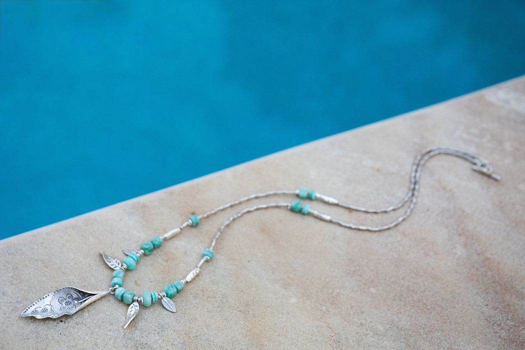 Statement Long Amazonite Necklace with Hill Tribe Silver Beads, Leaf Pendant and Clasp - Handmade Gemstone Jewellery - Amazonite Jewelry