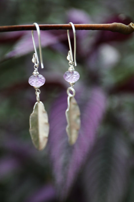 Lovely Faceted Amethyst Earrings with Thai Hill Tribe Silver Leaf Charms and Hooks - Handmade Earrings - Beaded jewellery - Amethyst Jewelry