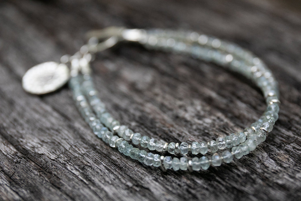 Handmade Beaded Double Strand Aquamarine Bracelet with Thai Hill Tribe Silver Beads, Clasp and Om Charm - Handmade Beaded Gemstone Bracelet