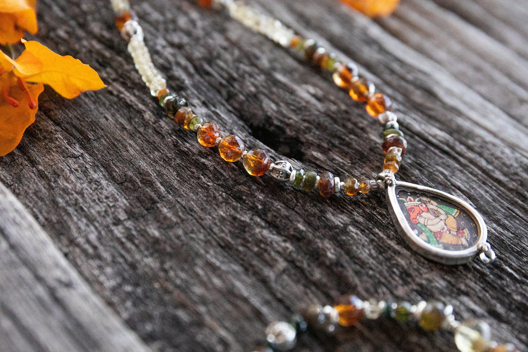 Handmade Citrine and Tourmaline Necklace with Hand Painted Ganesh Pendant - Beaded Gemstone Jewellery - Citrine Jewelry - Necklace