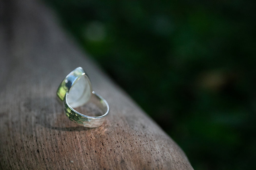 Faceted Rainbow Moonstone Ring in Teardrop Sterling Silver Setting with Beaten Band - Size 7.5 - Gemstone Jewelry - Rainbow Moonstone Ring