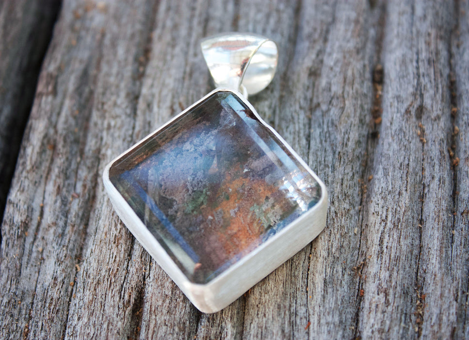 Statement Square Lodelite Pendant set in Brushed Sterling Silver - Gemstone Jewelry - Lodolite