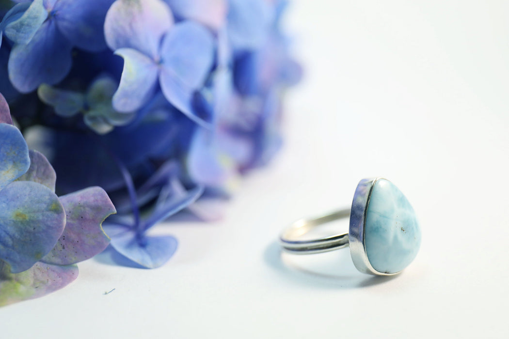 Lovely Larimar Teardrop Ring set in Sterling Silver - Size 8 US - Dolphin Stone Jewellery - Pectolite Jewelry - Gemstone Ring