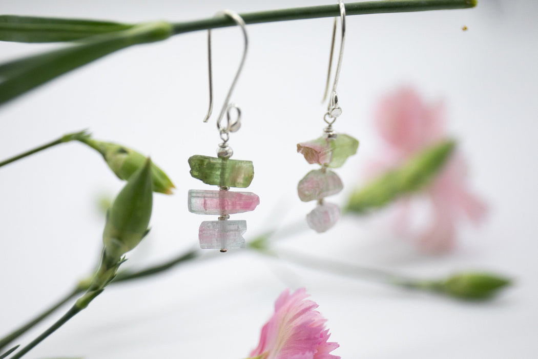 One of a Kind Raw Watermelon Tourmaline Earrings with Pure Hill Tribe Silver Beads - Handmade Earrings - Rough Gemstone Earrings - Jewellery
