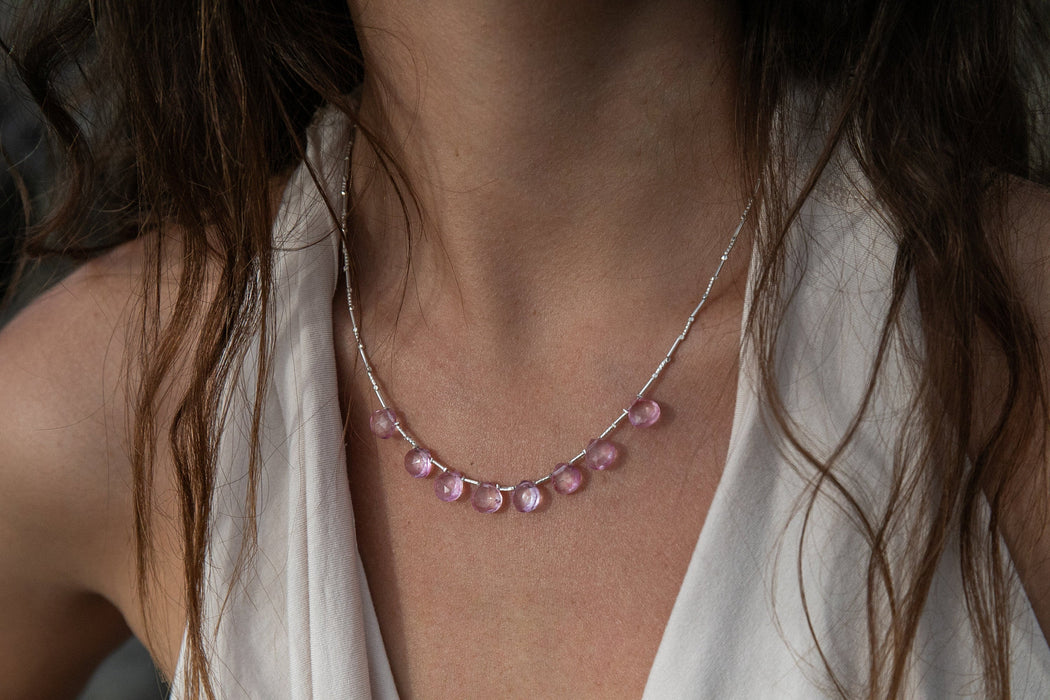 Very Sweet Pink Topaz Briolette Necklace with Thai Hill Tribe Silver Beads - Handmade Gemstone Jewellery - Pink Topaz Jewelry