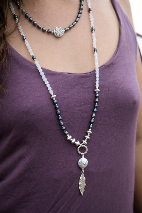 Beaded Handmade Black Freshwater Pearl Necklace with Thai Hill Tribe Silver Beads and Pendant - Gemstone Jewelry