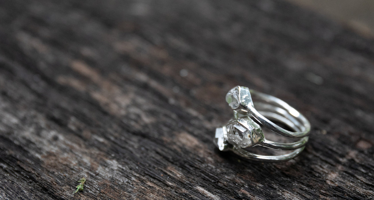 Gorgeous Herkimer Diamond Multi Band Ring set in Sterling Silver - Size 6.5 US - Herkimer Diamond Jewellery - Raw Gemstone Ring
