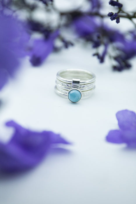 Unique Multi Band Ring with Larimar Stone Sterling Silver - Size 7.5 US - Dolphin Stone Gemstone Ring - Gemstone Jewellery