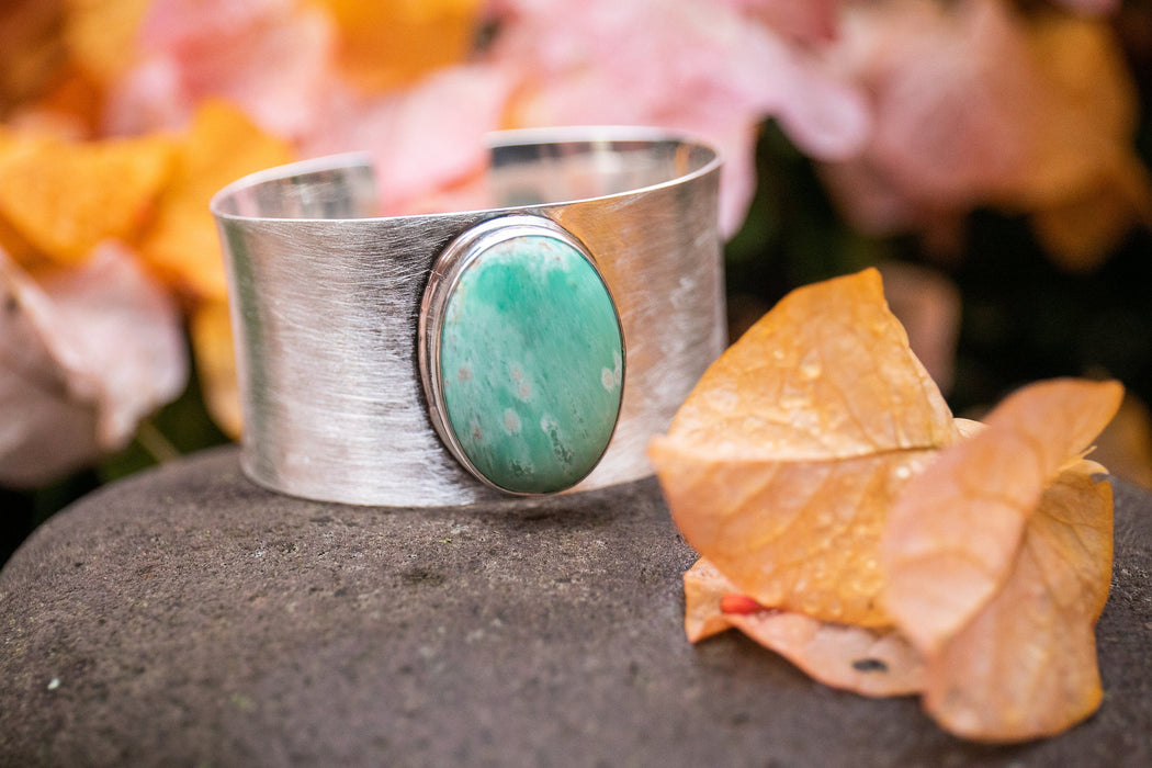 Stunning Statement Variscite Cuff Bangle in Solid Brushed Sterling Silver - Handmade Gemstone Jewellery - Variscite Jewelry