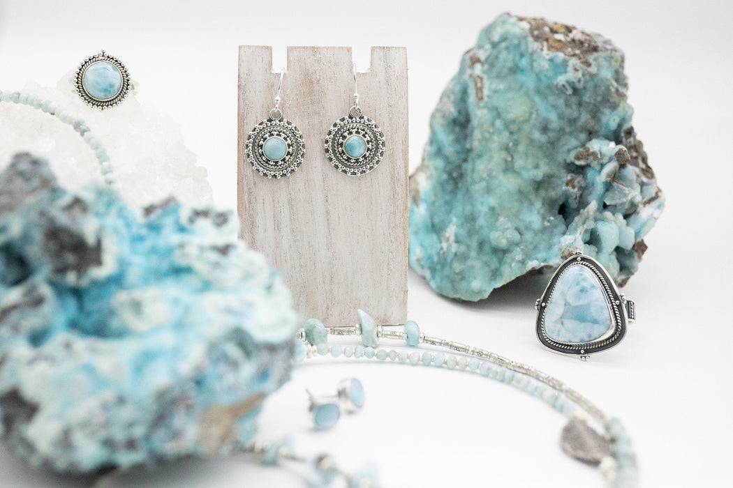 Gorgeous Larimar Round Earrings set in Decorative 92.5% Sterling Silver - Larimar Jewelry - Dolphin Stone Jewellery