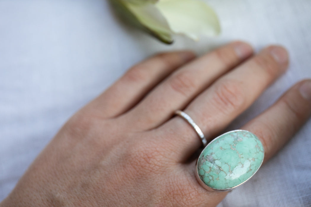 One of a Kind Statement Variscite Ring set in Beaten Sterling Silver - Size 8.5 US - Gemstone Jewelry - Variscite Jewellery - Green Ring