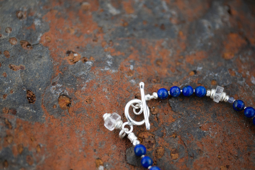 Handmade Lapis, Clear Crystal Quartz + Tanzanite Bracelet with Thai Hill Tribe Silver Beads and Clasps - Beaded Gemstone Bracelet - Jewelry