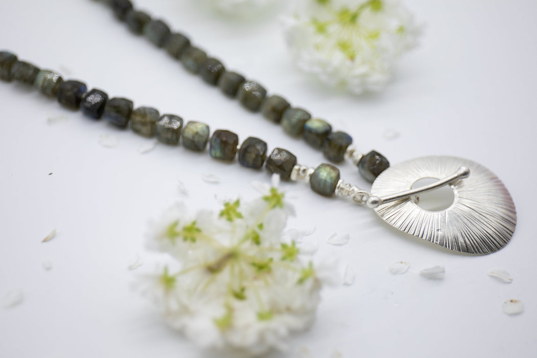 Lovely Labradorite Necklace with Striking Thai Hill Tribe Silver Pendant Clasp - Gemstone Jewellery - Gemstone Statement Jewellery
