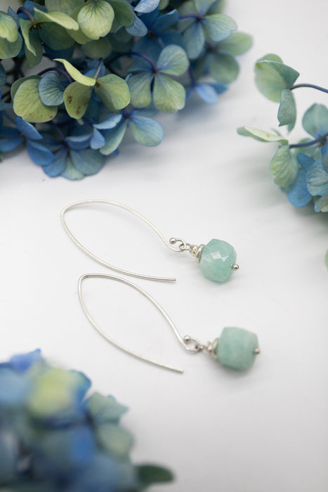 Handmade Faceted Amazonite + Thai Hill Tribe Silver Earrings on Long Hooks - Gemstone Jewellery - Amazonite Jewelry