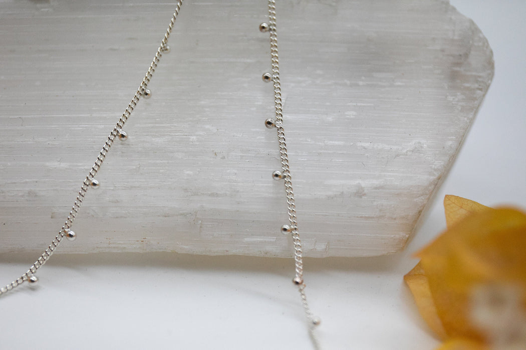 Sweet Sterling Silver Bobble Chain - Adjustable Chain - Beaded Silver Chain - Sterling Silver Necklace