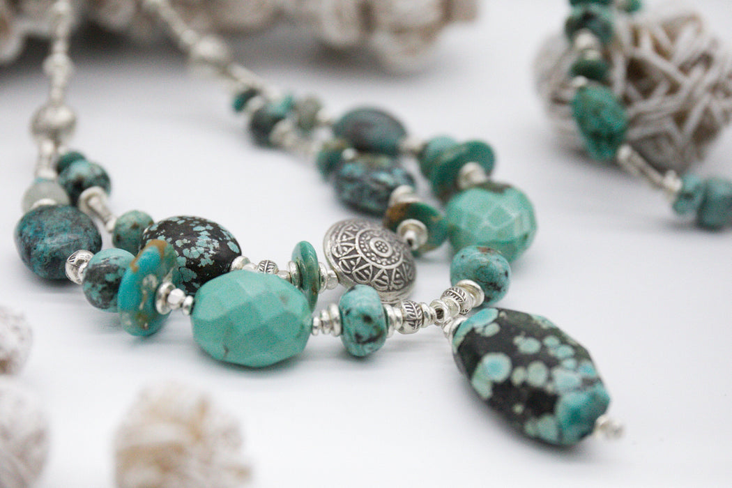 Gorgeous Statement Chunky Natural Turquoise Necklace with Thai Hill Tribe and Sterling Silver Beads - Handmade Jewelry - Genuine Gemstone