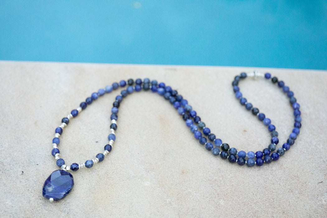 Handmade Statement Faceted Sodalite and Thai Hill Tribe Silver Mala Necklace - Jewelry - Beaded Gemstone Necklace - Sodalite Jewelry