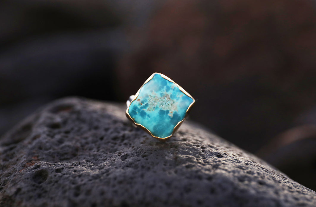 Unique Chrysocholla Ring with Leaf Printed Band and Gold Plated and Sterling Silver Band - Gemstone Jewelry - Chrysocholla Jewellery