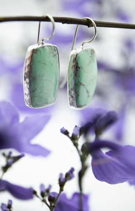 Sweet and Soft Large Rectangle Variscite Earrings set in Beaten Sterling Silver - Gemstone Jewellery - Teardrop Variscite Jewellery