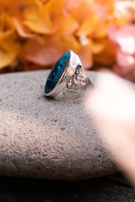 Gorgeous Statement Shattuckite Ring set in Unique Beaten Sterling Silver Setting - Size 9 US - Shattuckite Jewelry - Gemstone Ring