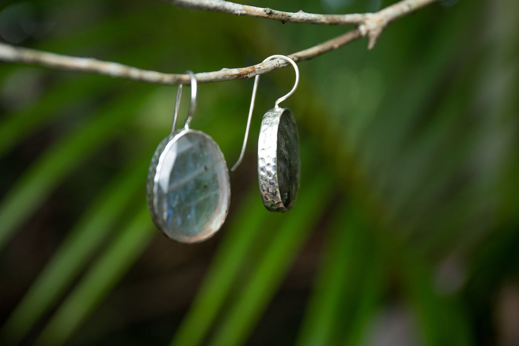 Stunning One of a Kind Faceted Large Labradorite Earrings set in Sterling Silver - Statement Earrings - Gemstone Jewelry