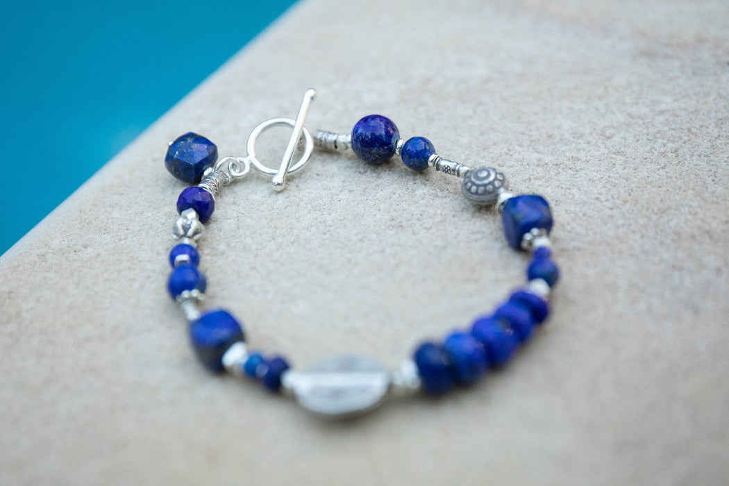 Lapis Lazuli Bracelet with Thai Hill Tribe Silver Beads and Clasp - Blue Gemstone Bracelet - Gemstone jewellery - Beaded Gemstone Bracelet