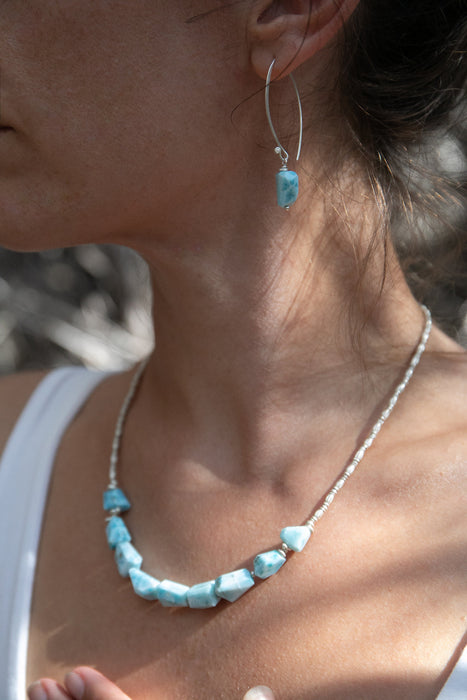 Stunning Step Faceted Larimar Necklace with Thai Hill Tribe Silver Beads and Clasp - Dolphin Stone Necklace - Handmade Larimar Jewellery