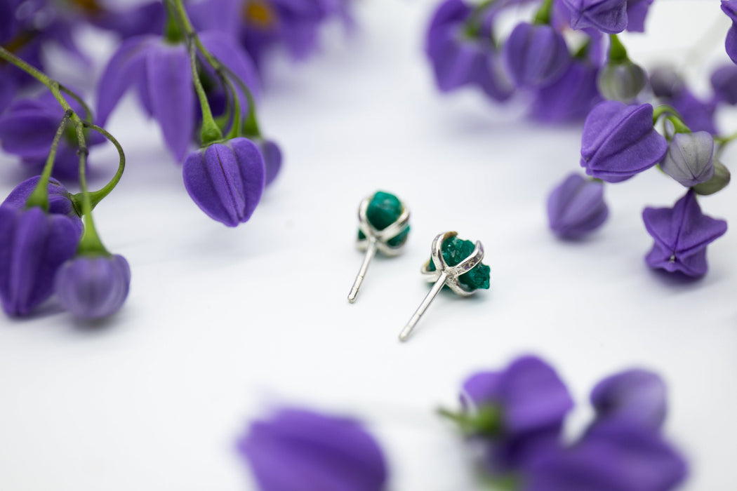 One of a Kind Raw Dioptase Stud Earrings in Sterling Silver Claw Setting - Raw Gemstone Studs - Rough Dioptase Jewellery