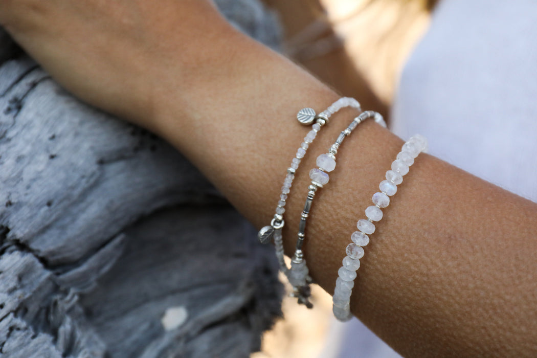 Handmade Double Rainbow Moonstone and Thai Hill Tribe Silver Beaded Bracelet with Leaves - Beaded Gemstone Jewellery - Crystal Jewellery
